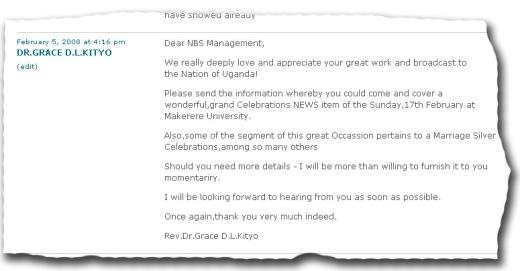 Dr Grace Kityo leaves acomment