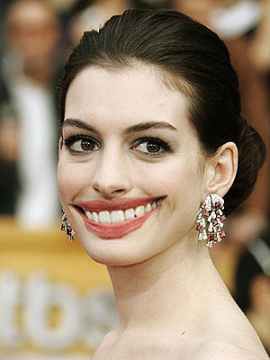 Miss Hathaway and mouth. Plus, what is it with Anne Hathaway's left eye?