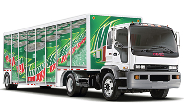 This is a truck towing Mountain Dew. Stay out of its way